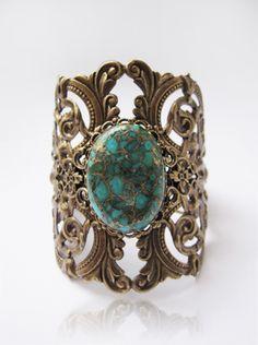 """Turquoise""-Cuff,Bracelet,Turquoise gemstone,exclusive design,cabochon,filigree,Gemstone,adjustable,jewellery,designer,natural gemstone,vintage"