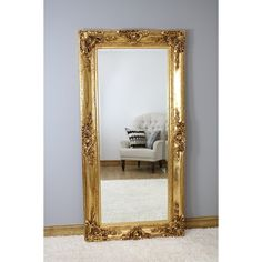 Rosehampton - Gold Ornate Crested Full Length Mirror x x French Mirror, Ornate Mirror, Beveled Mirror, Beveled Glass, Cool Mirrors, Beautiful Mirrors, Extra Large Mirrors, Full Length Floor Mirror, Circular Mirror