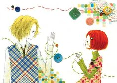Buttons and Thread: Cute #Illustration by Hiromi Sato