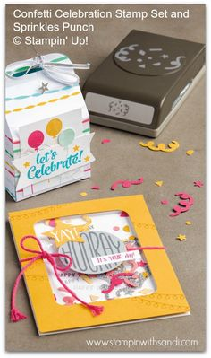 Stampin Up Confetti Celebration Shaker Card created with the Sprinkles Punch and Confetti Celebration Stamp Set www.stampinwithsandi.com