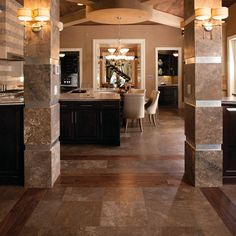 Details: The New American Home 2011. Photo features Café Au Lait Travertine on the floor and columns.