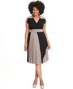 Alfani Plus Size Dress, Short-Sleeve Colorblocked Pleated - Plus Size Dresses - Plus Sizes - Macy's
