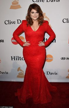 Lady in red: Meghan Trainor was a sight for sore eyes as she attended theClive Davis & The Recording Academy's 2016 Pre-Grammy Gala party in Beverly Hills on Sunday