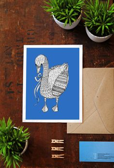 Swan Wall Art Print  Blue Block Color  Home Decor by Sail and Swan
