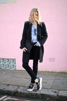 20 Ways to Pull Off Platforms This Spring - striped button-down shirt, black coat, black skinny jeans and platform patent leather shoes