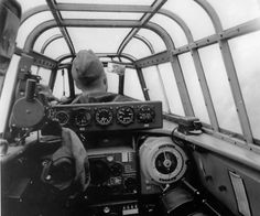 Inside the cockpit of a Messerschmitt Bf.110 during flight.