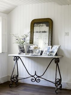 Console Table With Wrought Iron Base