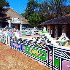 This has been my home for the past two days. A tranquil village in Mpoumalanga. Can you spot the Ndebele patterns on the walls? The houses here look like these and we get our designs from old people who live here. Pattern Art, Pattern Dress, Pattern Design, African Hut, Architecture Life, Geometric Painting, Ancient Buildings, South African Artists, Environment Concept Art