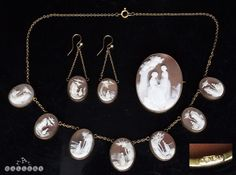 Victorian Set of Cameo Carved Necklace Earrings & 9 Carat Gold Brooch c.1880 in Jewellery & Watches, Vintage & Antique Jewellery, Vintage Fine Jewellery | eBay!