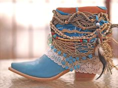 blue Upcycled REWORKED vintage festival boho COWBOY BOOTS - boho boots - western boots from TheLookFactory on Etsy