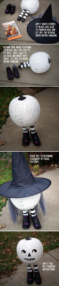 make this easy, adorable pumpkin witch Diy Halloween, Adornos Halloween, Outdoor Halloween, Holidays Halloween, Halloween Pumpkins, Happy Halloween, Halloween Decorations, Decoration Vitrine, Hallowen Ideas