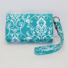 NEW STYLE TECH iPhone 5 Wallet Galaxy S4 Wallet Cell Phone Wristlet by Cucio on Etsy Park avenue Damask in Aqua