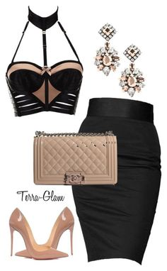 """""""She Slays All Day!"""" by terra-glam ❤ liked on Polyvore featuring Bordelle, Rock & Republic, Chanel, Christian Louboutin and Darya London"""