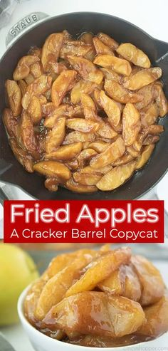 Fried Apples are a delicious copycat of Cracker Barrel cooked apples. This sweet, Southern side dish is easy to make and comforting to eat. Cracker Barrel Apples Recipe, Cracker Barrel Copycat Recipes, Apple Recipes Easy, Fall Recipes, Sweet Recipes, Yummy Recipes, Cooked Apples, Crockpot Fried Apples, Fried Apples Recipe Easy
