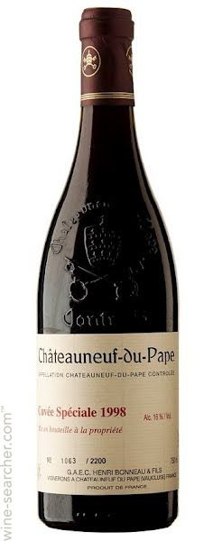 Henri Bonneau Chateauneuf-du-Pape Cuvee Speciale, Rhone, France  he Cuvee Speciale is made only from great vintages e.g. 1990, 1998    Average Price NZ$892 (NZD) (Approx, ex-tax, all vintages) Chateauneuf Du Pape, Wine Searcher, Expensive Wine, Marketing Data, France, Rhone, Bottle, Vintage, French Wine
