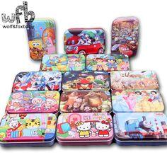 Caja de hierro De Madera Rompecabezas 60 Rompecabezas Niño Divertido Unids/caja Estilos de Patrones de Dibujos Animados Juguetes Educativos juguetes de inteligencia