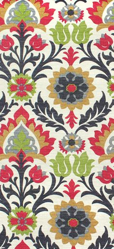 Waverly Santa Maria Sun N Shade Jewel Fabric #blue #green #red #decor