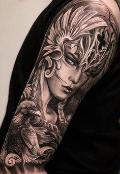 80 Fotos de tatuagens masculinas no braço | TopTatuagens Norse Mythology Tattoo, Greek Mythology Tattoos, Norse Tattoo, Celtic Tattoos, Valkerie Tattoo, God Tattoos, Body Art Tattoos, Viking Tattoo Sleeve, Full Sleeve Tattoos