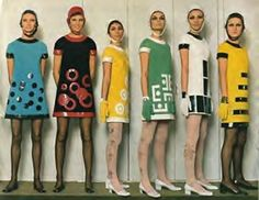 """1960s Mini Skirt fashions by Mary Quant, Carnaby Street. She named the mini skirt after her favorite car the 'Mini Cooper""."" Historical reference of Mary Quant's famous dresses - JM 02/29/16"