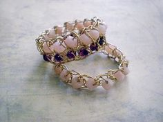 Crochet lace gold wire rings- size 7.5, Ready to ship