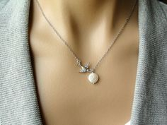 Silver Swallow with Coin Pearl   gift Christmas by PiperBlue