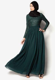 Zalia Lace Fit & Flare Chiffon Maxi Dress I Beli di ZALORA Indonesia ®