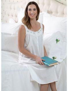 i-Smalls Ladies 100/% Cotton Breathable Lace Strap Victorian Design Nightie Nightdress