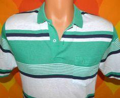 vintage 80s golf shirt polo PENGUIN green green and navy stripe grand slam munsingwear Medium preppy
