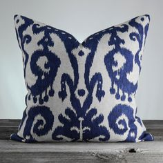 Custom pillow cover made from IKAT Marrakesh Batik Indigo (blue and cream) fabric. * Size: PICK Your Size * Same Fabric on Both Sides *Overcast Etsy Fabric, Ikat Fabric, Blue Pillow Covers, Ikat Pillows, Coordinating Fabrics, Custom Pillows, Cover Design, Fabric Design, Printing On Fabric