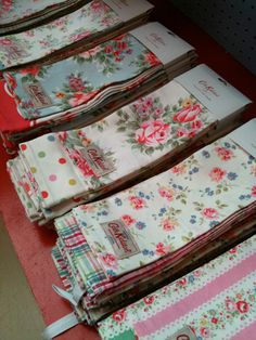These are new tea towels from Cath Kidston. But vintage tea towels are very plentiful at flea markets. They are always clean and laundered and ironed and plenty of them have never been used. My mother gave me tea towels. I drape them on my stove handle and I actually use them for tea. Biddy Craft
