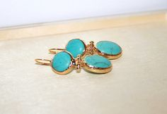 Dangle Earrings – Turquoise Dangle Earrings, Gold plated  – a unique product - Bridesmaid jewelry gift set of 3 4 5 6 7 9 10 12 , jewellery by OzDesigns on DaWanda