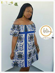 Blue Off Shoulder Ankara Dress/ African Print Bardot Style