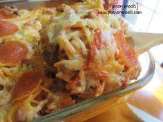 po' man meals pizza spaghetti bake #spaghetti #pizza
