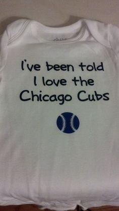 I've been told I love the Chicago Cubs baseball onesie. $10.00, via Etsy.