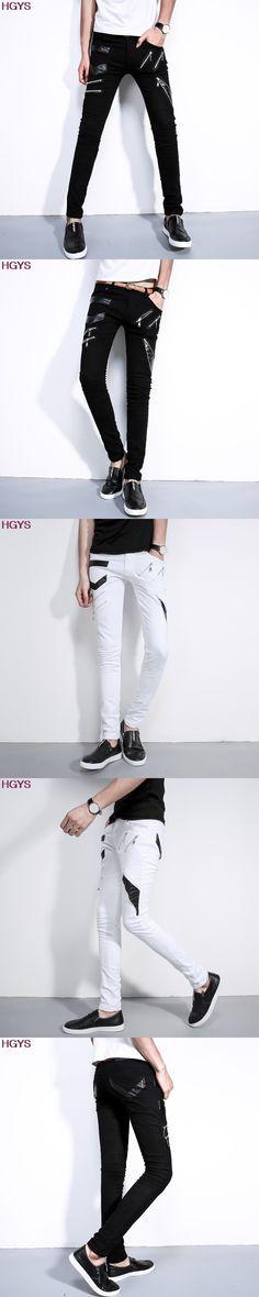 BOU 2017 new men non-mainstream chunchun male Leather pants tight little skinny jeans fashion personality straight leg pants