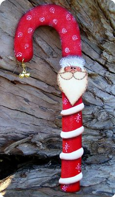 Candy Cane Santa Ornament with Bells by CountryCharmers on Etsy, $7.25