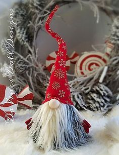 18-034-TALL-Tomte-Nisse-Gnome-SANTA-CHRISTMAS-Red-SNOWFLAKE-COLLECTION-decoration
