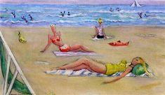 """Moses Levy (Tunisi 1885- Viareggio 1968) """"Bagnanti sulla spiaggia"""",  1961. olio su tela dimensioni: 36 x 58 cm. (14.2 x 22.8 in. )Voir les résultats denchères passées pour MosesLevy sur artnet"""