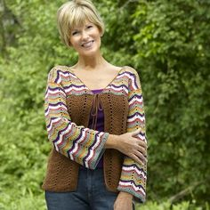 "479 Nakota Cardigan, crochet pattern instructions by Sara Delaney. Available on WEBS as print, PDF, or in a kit. Sizes up to 50"" bustline. Would be a great everyday layering piece done in a solid color; stripe colors could be changed to coordinate with your own wardrobe."