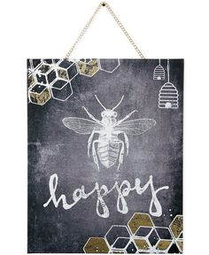"""Graham & Brown's Bee Happy mixed-media wall art is casual with chalkboard flair. A honeybee and the word """"happy"""" are at the center of this piece, making a positive, light-hearted addition to your deco"""