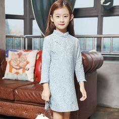 13.65$  Watch now - http://aliref.shopchina.info/go.php?t=32449061406 - New Designs Pattern Children Girl Long Sleeve Lace Cheongsam Top Wedding Dress Beautiful Kids Qipao Qi Pao Mini Dresses For Sale 13.65$ #magazineonline