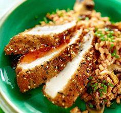 Sesam-Huhn auf Dinkel