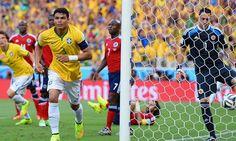 Brasil vs. Colombia: Thiago Silva abrió el marcador en duelo de cuartos de final del Mundial. Foto: Getty Images