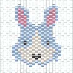 lapin01 Peyote Patterns, Beading Patterns, Stitch Patterns, Motifs Perler, Beaded Banners, Bead Sewing, Peyote Beading, Beaded Animals, Beaded Brooch
