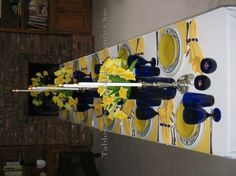 Yellow and blue daffodil tablescape