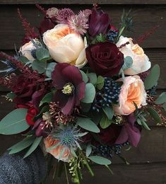 Rich burgundy, green and peach fall floral arrangement on Hello Lovely #Floral