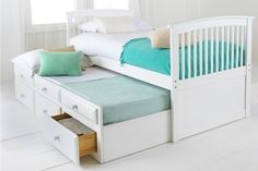 Capitano White Trundle Bed With Drawers from Worldstores.co.uk