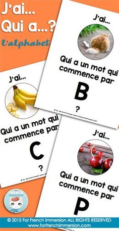 French Alphabet Game - J'ai… Qui a. with real photographs to practice the French alphabet. Fun game to improve speaking fluency! Read In French, Learn French, French Alphabet, Spanish Alphabet, Teaching French Immersion, French Teaching Resources, Spanish Activities, Math Activities, French Flashcards
