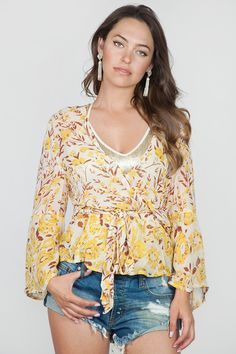 Chan Luu Patchwork Floral Wrap Blouse in Honeygold