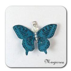 PENDENTIF PAPILLON 5 CM TURQUOISE ARGENTE-MAEVA - Boutique www.magicreation.fr